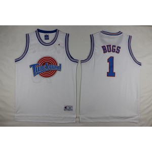 Space Jam Tune Squad 1 Bugs Bunny White Movie Stitched Basketball Jersey
