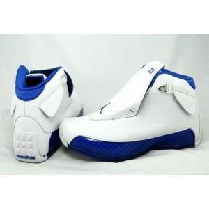 Air Jordan 18 White Blue Retro Shoes