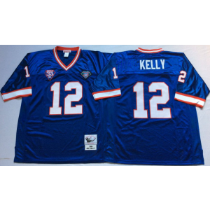 NFL Mitchell&Ness Buffalo Bills 12 Jim Kelly Blue 35th Anniversary Patch Throwback Jersey