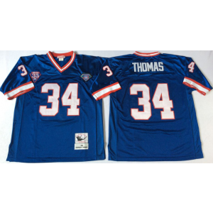 NFL Mitchell&Ness Buffalo Bills 34 Thurman Thomas Blue 35th Anniversary Patch Throwback Jersey