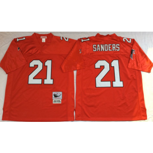 Mitchell&Ness Atlanta Falcons 21 Deion Sanders Red Throwback Jersey