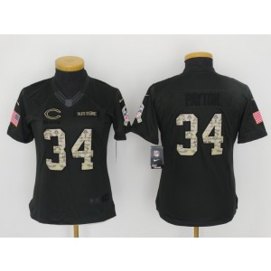Nike NFL Bears 34 Walter Payton Anthracite 2016 Salute to Service Women Jersey