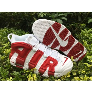Nike Air More Uptempo Chaussures Shoes White Red
