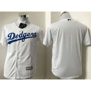 MLB Dodgers Blank White Cool Base Men Jersey