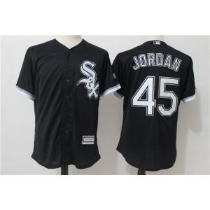MLB White Sox 45 Michael Jordan Black Men Jersey