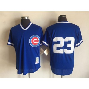 MLB Cubs 23 Ryne Sandberg Blue Mitchell and Ness Throwback Men Jersey