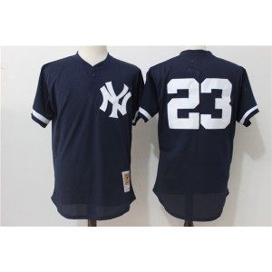MLB Yankees 23 Don Mattingly Navy Blue Mitchell and Ness Throwback Men Jersey