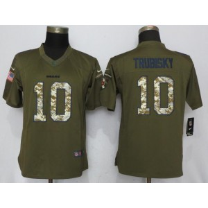 Nike Bears 10 Mitchell Trubisky Green Salute to Service Limited Women Jersey