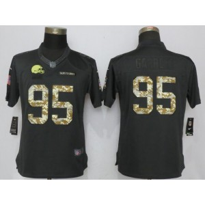Nike Browns 95 Myles Garrett Anthracite Salute to Service Limited Women  Jersey