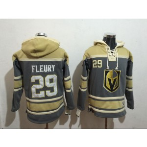 NHL Vegas Golden Knights 29 Marc-Andre Fleury Gray & Cream All Stitched Hooded Men Sweatshirt