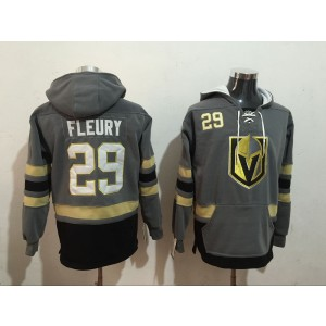 NHL Vegas Golden Knights 29 Marc-Andre Fleury Gray All Stitched Hooded Men Sweatshirt