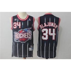 NBA Rockets 34 Hakeem Olajuwon Navy Throwback Men Jersey