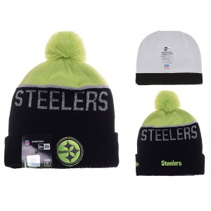 NFL Steelers Team Logo Black & Fluorescent Green Knit Hat YD