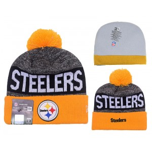 NFL Steelers Team Logo Gray & Orange Knit Hat YD