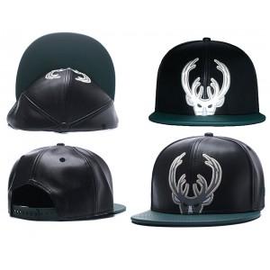 NBA Bucks Team Logo Black Reflective Snapback Adjustable Hat GS