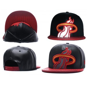 NBA Heat Team Logo Black Reflective Snapback Adjustable Hat GS