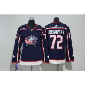 NHL Blue Jackets 72 Sergei Bobrovsky Navy Adidas Women Jersey