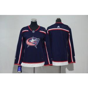 NHL Blue Jackets Blank Navy Adidas Women Jersey
