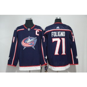NHL Blue Jackets 71 Nick Foligno Navy Adidas Men Jersey