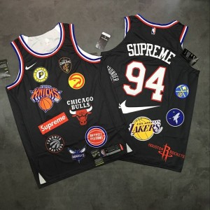 Supreme x Nike x NBA Logos Black Stitched Basketball Men Jersey