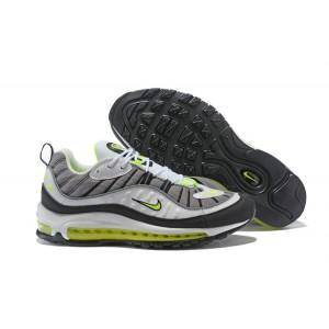 Nike Air Max 98 Cool Grey Volt Black Metallic Silver Shoes