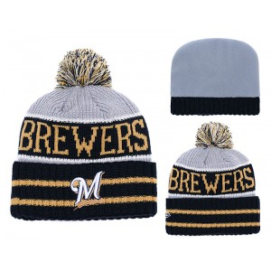 MLB Brewers Team Logo Navy Pom Knit Hat YD