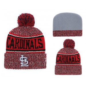 MLB Cardinals Fresh Logo Red Cuffed Knit Hat With Pom YD