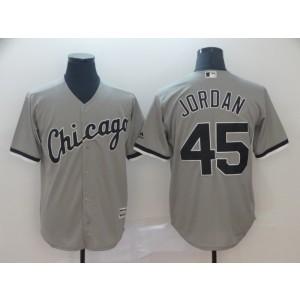 MLB White Sox 45 Michael Jordan Grey New Cool Base Men Jersey