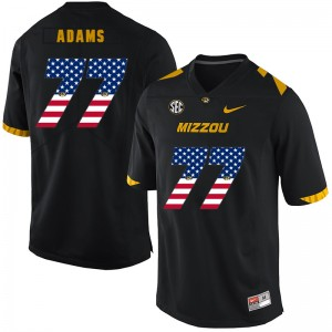 NCAA Missouri Tigers 77 Paul Adams Black USA Flag Nike College Football Men Jersey