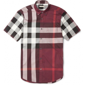 Burberry Brit Slimfit Plaid Cotton Purple Men Shirt