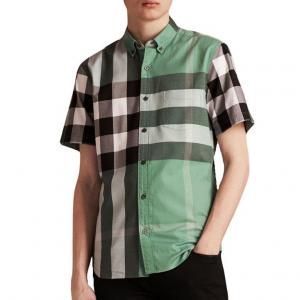 Burberry Multicolor Short-sleeved Colour Block Check Cotton Men Shirt