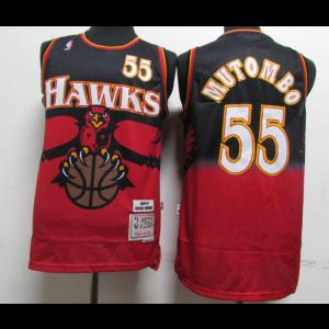NBA Hawks 55 Dikembe Mutombo Red Throwback Men Jersey