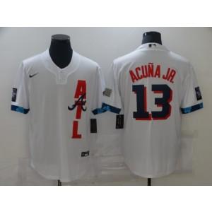 MLB Braves 13 Ronald Acu?a Jr. White 2021 All-Star Cool Base Men Jersey