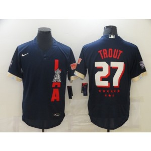 MLB Angels 27 Mike Trout Navy 2021 All-Star Flexbase Men Jersey
