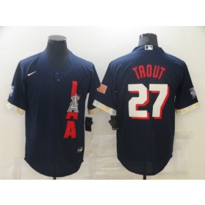 MLB Angels 27 Mike Trout Navy 2021 All-Star Cool Base Men Jersey