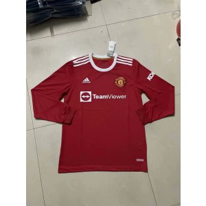 2021-22 Premier League Manchester United Long Sleeves Soccer Home Men Jersey