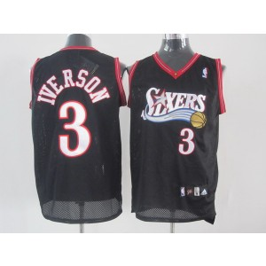 NBA 76ers 3 Allen Iverson Black Men Jersey