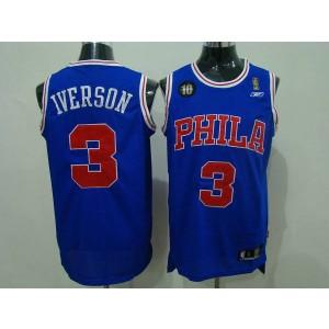 NBA 76ers 3 Allen Iverson Blue Reebok 10TH Throwback Men Jersey