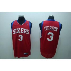 NBA 76ers 3 Allen Iverson Red Men Jersey