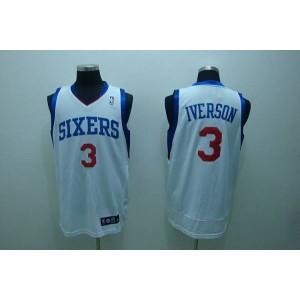 NBA 76ers 3 Allen Iverson White Men Jersey