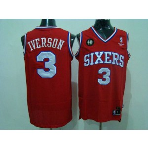 NBA 76ers 3 Allen Iverson Red Reebok 10TH Throwback Men Jersey