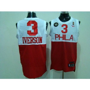 NBA 76ers 3 Allen Iverson White Red Reebok 10th Throwback Men Jersey