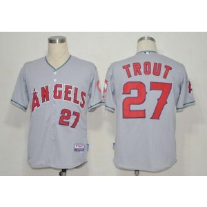 MLB Angels 27 Mike Trout Grey Cool Base Men Jersey