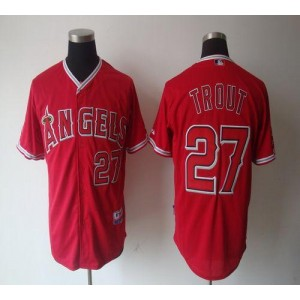 MLB Angels 27 Mike Trout Red Cool Base Men Jersey