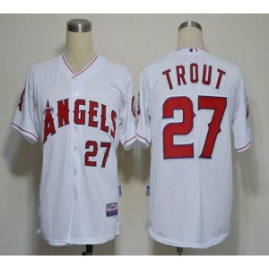 MLB Angels 27 Mike Trout White Cool Base Men Jersey