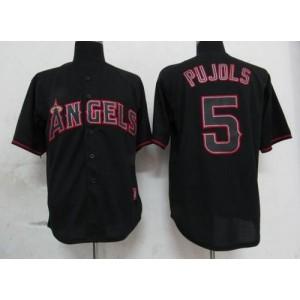 MLB Angels 5 Albert Pujols Black Fashion Men Jersey