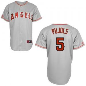 MLB Angels 5 Albert Pujols Grey Cool Base Men Jersey