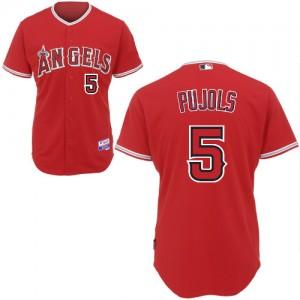 MLB Angels 5 Albert Pujols Red Cool Base Men Jersey