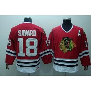 NHL Blackhawks 18 Denis Savard Red CCM Throwback Men Jersey