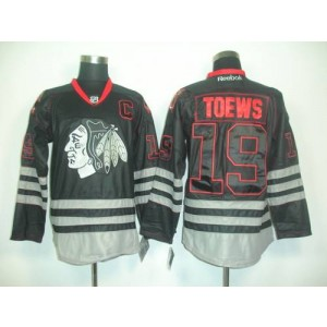 NHL Blackhawks 19 Jonathan Toew Black Ice Men Jersey